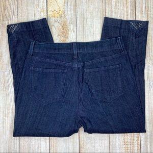 NYDJ Blue Straight Leg Crop Jeans Lift Tuck